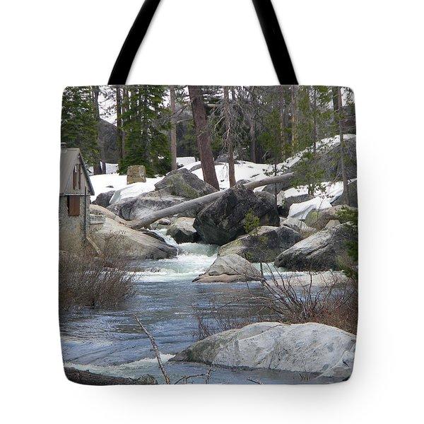 River Cabin Tote Bag by Bobbee Rickard