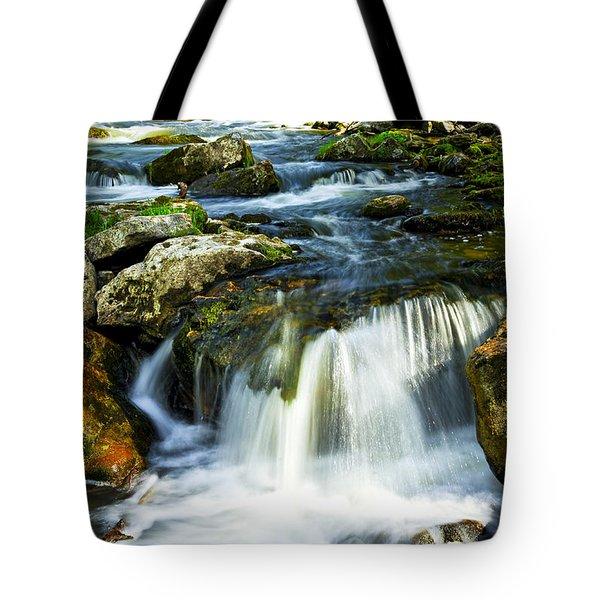 River flowing through woods Tote Bag by Elena Elisseeva