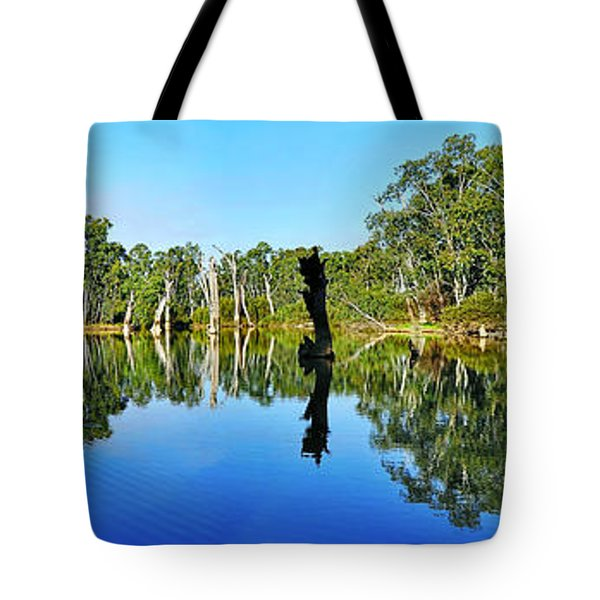 River Panorama and Reflections Tote Bag by Kaye Menner
