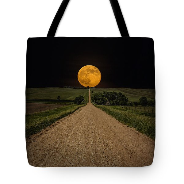 Road To Nowhere - Supermoon Tote Bag by Aaron J Groen