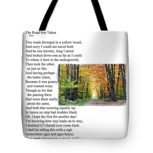 Robert Frost - The Road Not Taken Tote Bag by Ed Churchill