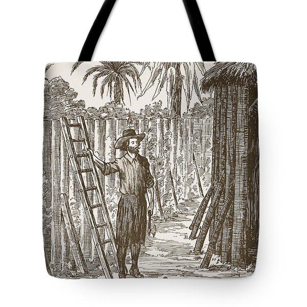 Robinson Crusoe Building His Bower Tote Bag by English School