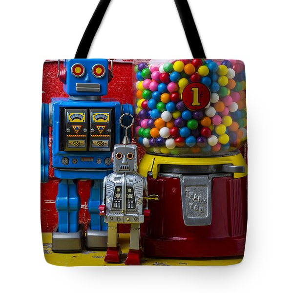 Robots And Bubblegum Machine Tote Bag by Garry Gay