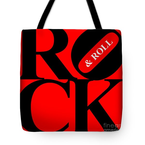 Rock And Roll 20130708 Black Red White Tote Bag by Wingsdomain Art and Photography