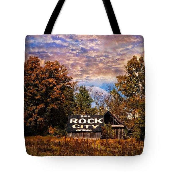 Rock City Barn Tote Bag by Debra and Dave Vanderlaan