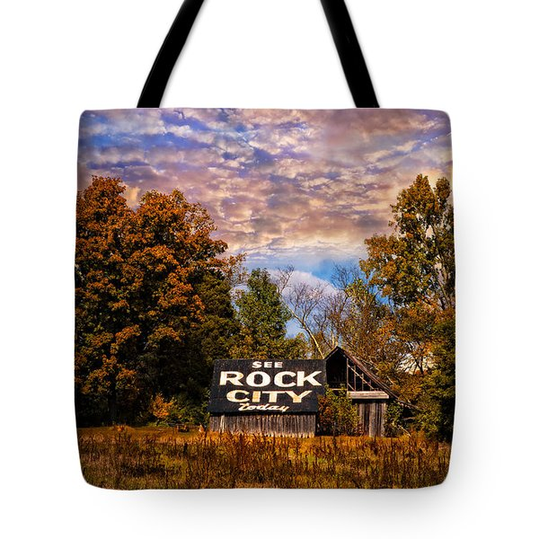Rock City Barn Tote Bag by Debra and Dave Vanderlaan