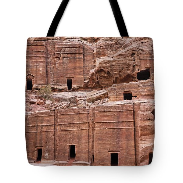 Rock Cut Tombs On The Street Of Facades In Petra Jordan Tote Bag by Robert Preston