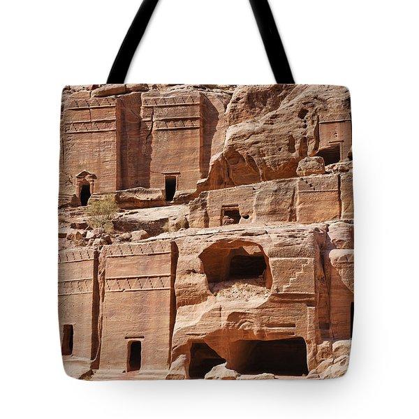 Rock Cut Tombs On The Street Of Facades Petra Jordan Tote Bag by Robert Preston