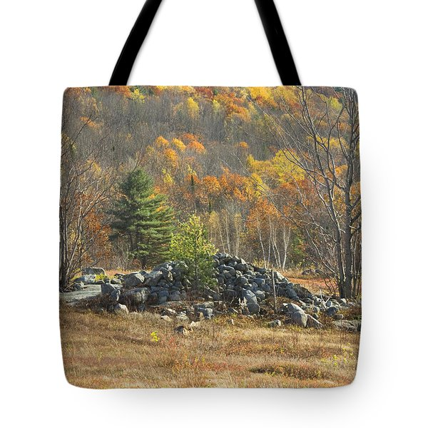 Rock Pile In Maine Blueberry Field Tote Bag by Keith Webber Jr