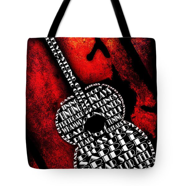 Rockin Guitar In Red Typography Tote Bag by Andee Design