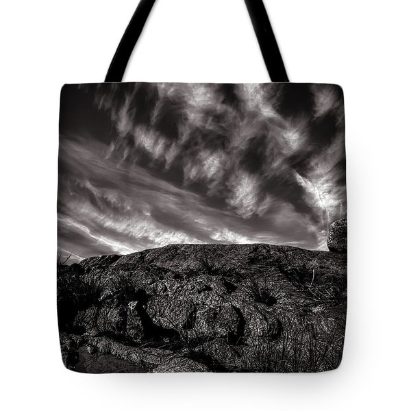 Rocks Clouds Water Tote Bag by Bob Orsillo