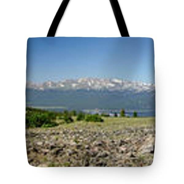 Rocky Mountain Rooftop Panoramic Tote Bag by Jeremy Rhoades