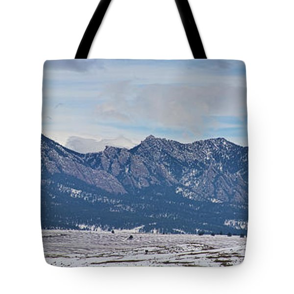 Rocky Mountains Flatirons And Longs Peak Panorama Boulder Tote Bag by James BO  Insogna