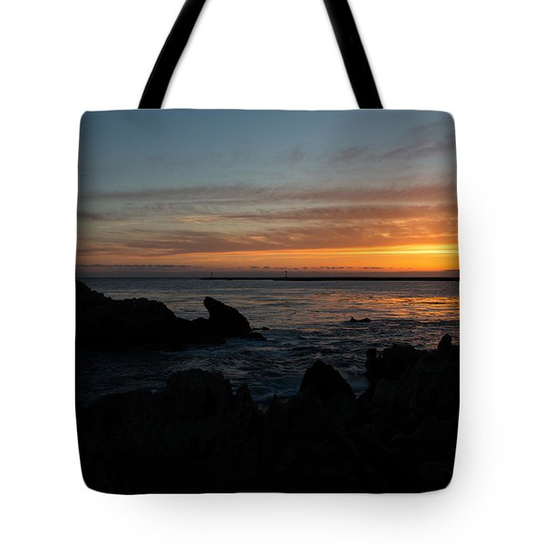Rocky Sunset At Corona Del Mar Tote Bag by John Daly