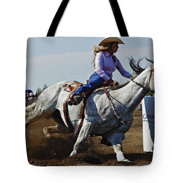 Rodeo Barrel Racer Tote Bag by Bob Christopher