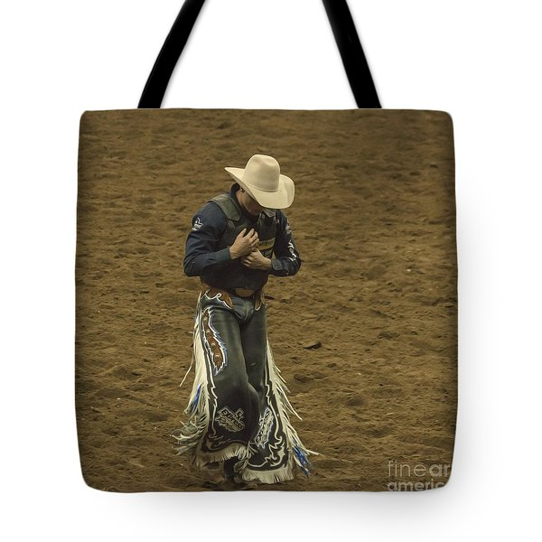 Rodeo Cowboy Dusting Off Tote Bag by Janice Rae Pariza