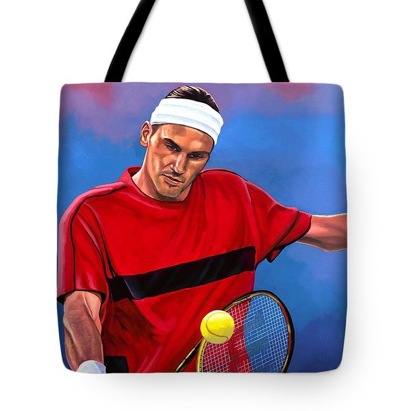Roger Federer The Swiss Maestro Tote Bag by Paul Meijering