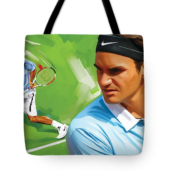Roger Federer Artwork Tote Bag by Sheraz A