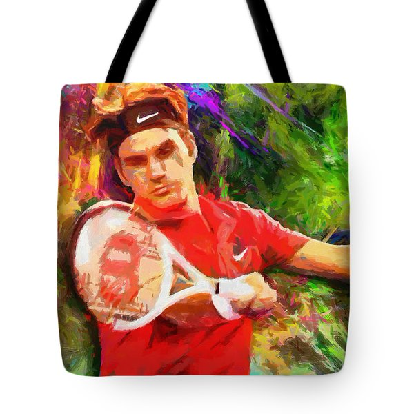 Roger Federer Tote Bag by RochVanh