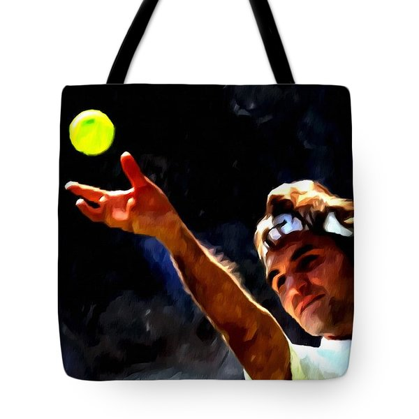 Roger Federer Tennis 1 Tote Bag by Lanjee Chee