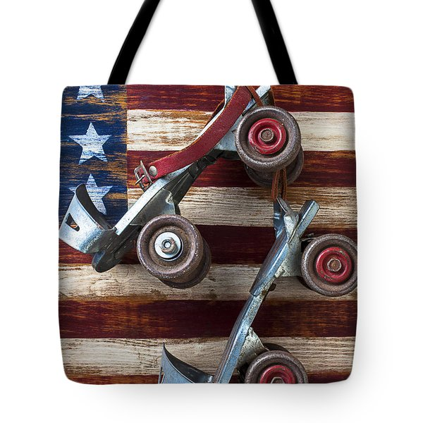 Rollar skates with wooden flag Tote Bag by Garry Gay