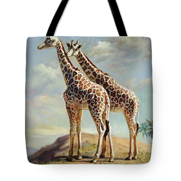 Romance In Africa - Love Among Giraffes Tote Bag by Svitozar Nenyuk