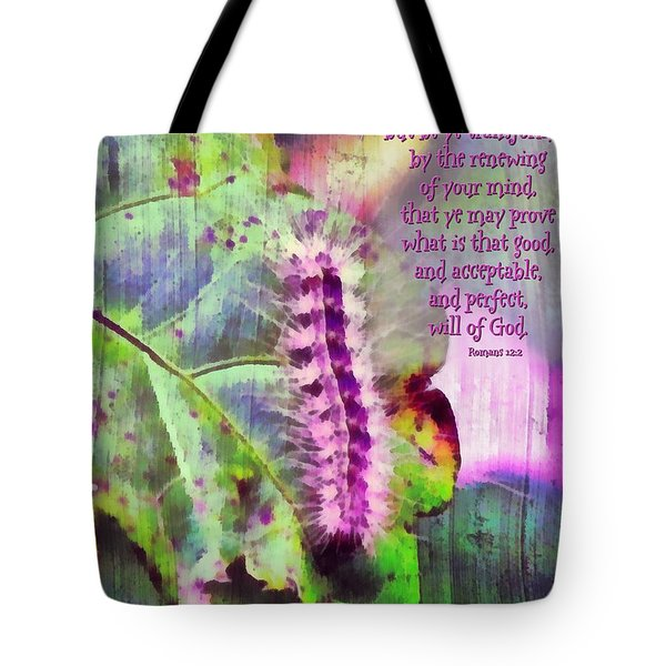 Romans 12 2 Tote Bag by Michelle Greene Wheeler