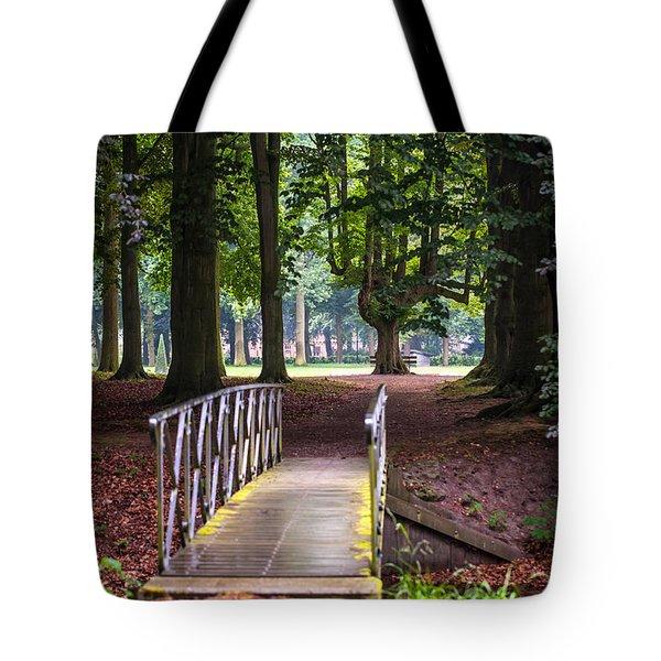 Romantic Bridge To Shadow Place. De Haar Castle Tote Bag by Jenny Rainbow