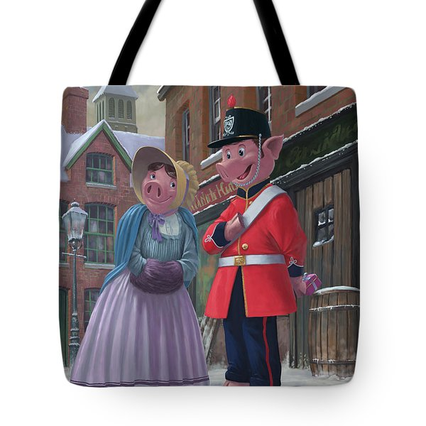 Romantic Victorian Pigs In Snowy Street Tote Bag by Martin Davey