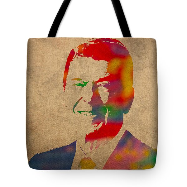 Ronald Reagan Watercolor Portrait on Worn Distressed Canvas Tote Bag by Design Turnpike