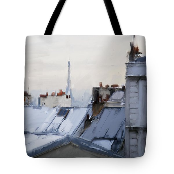 Rooftops Of Paris Tote Bag by H James Hoff