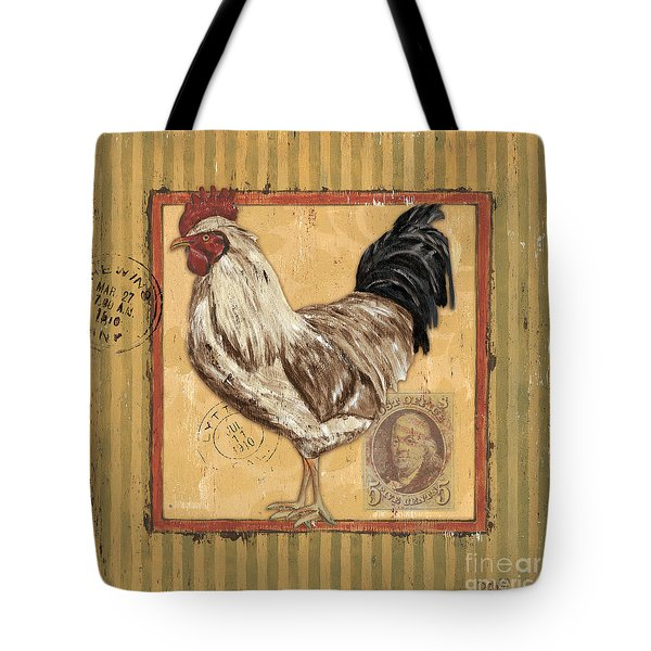 Rooster and Stripes Tote Bag by Debbie DeWitt