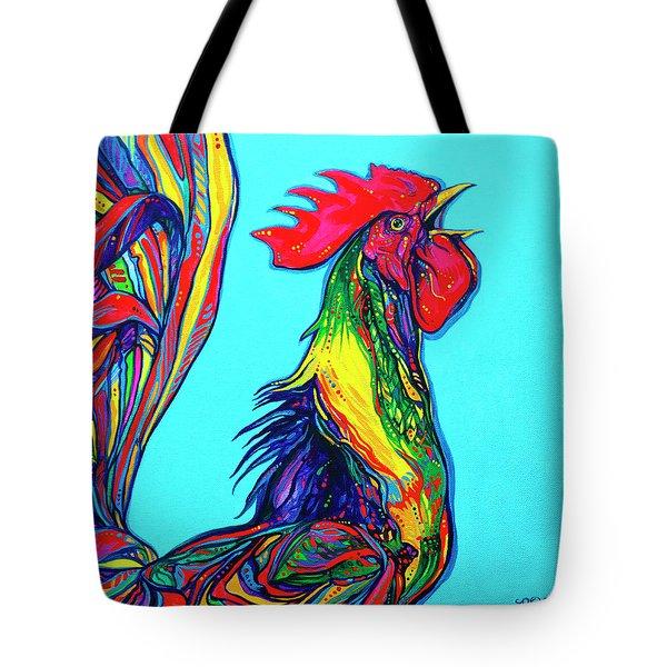 Rooster Crow Tote Bag by Derrick Higgins