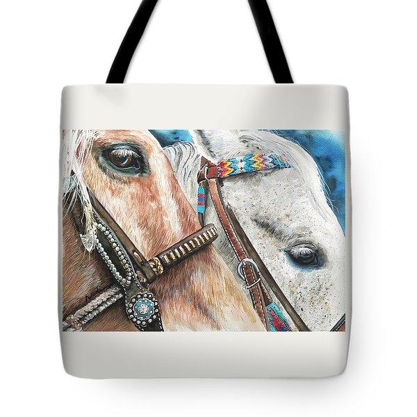 Roping Horses Tote Bag by Nadi Spencer