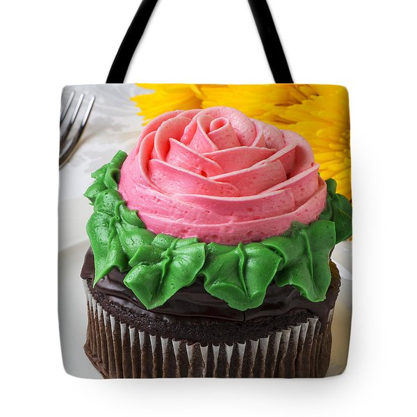 Rose cupcake Tote Bag by Garry Gay