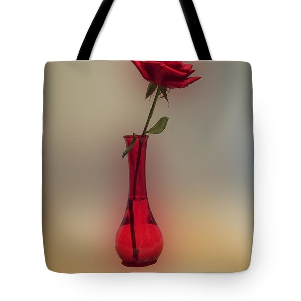 Rose In A Vase Tote Bag by Thomas Woolworth