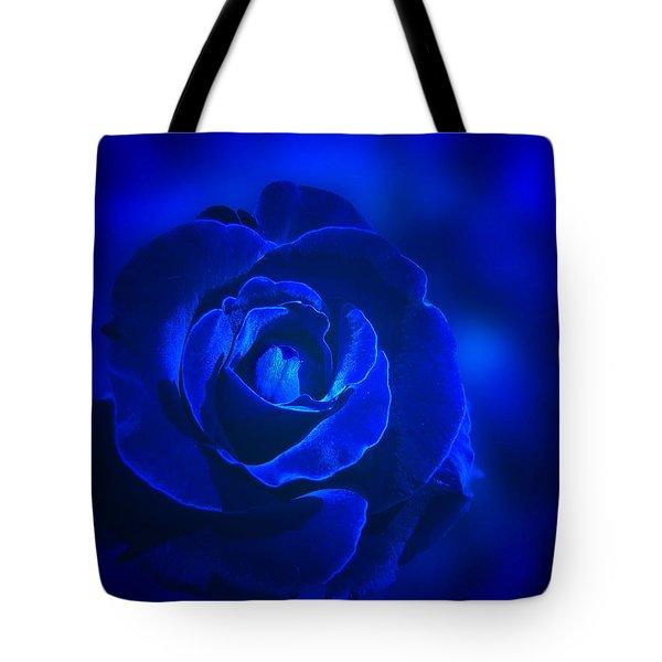 Rose In Blue Tote Bag by Sandy Keeton