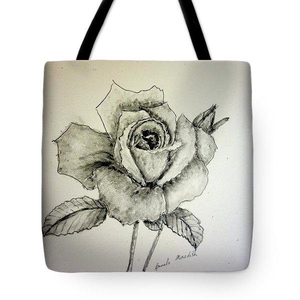 Rose In Monotone Tote Bag by Pamela  Meredith