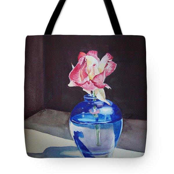 Rose In The Blue Vase II Tote Bag by Irina Sztukowski