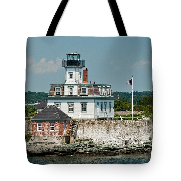 Rose Island Lighthouse Tote Bag by Nancy  de Flon