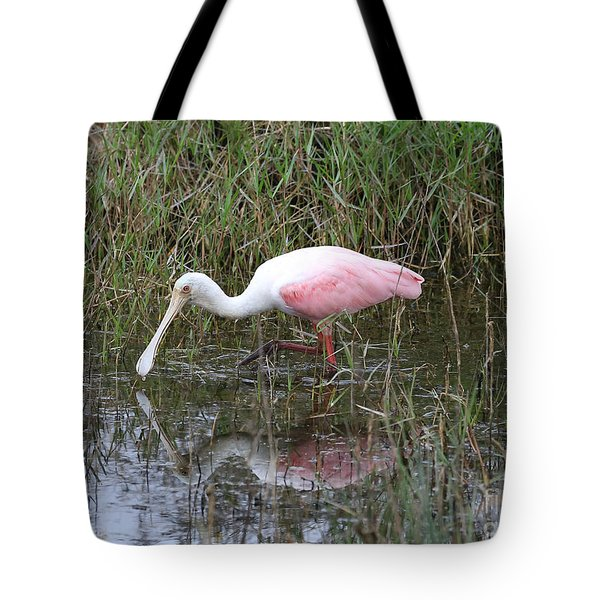 Roseate Spoonbill Reflection Tote Bag by Carol Groenen
