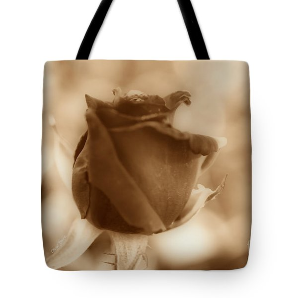 Rosebud Sepia Tone Tote Bag by Cheryl Young