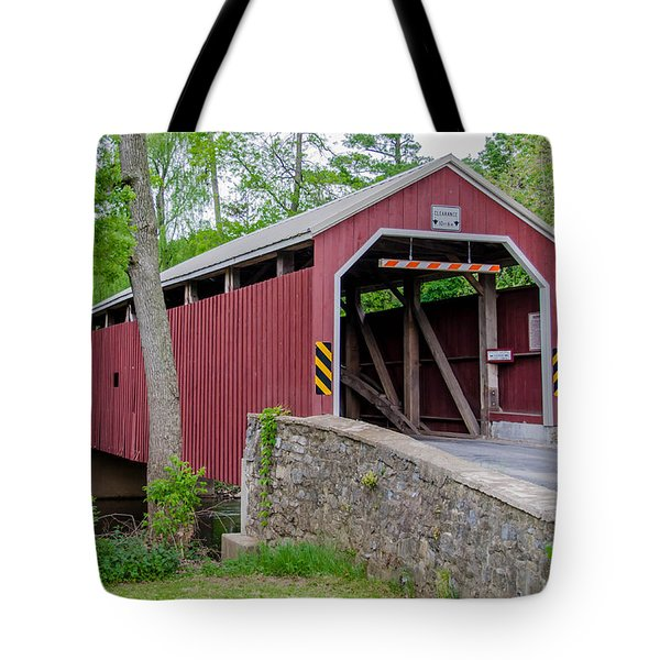 Rosehill Covered Bridge Tote Bag by Guy Whiteley