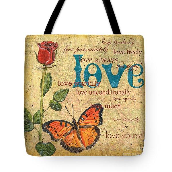 Roses And Butterflies 2 Tote Bag by Debbie DeWitt