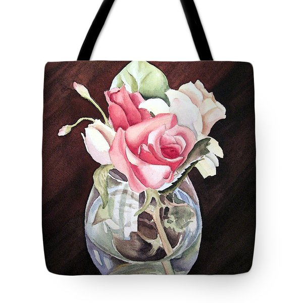 Roses in the Glass Vase Tote Bag by Irina Sztukowski