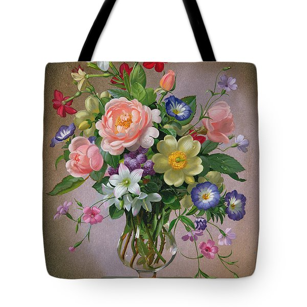 Roses Peonies And Freesias In A Glass Vase Tote Bag by Albert Williams