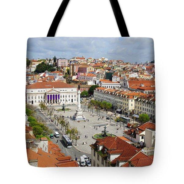 Rossio Square Tote Bag by Carlos Caetano