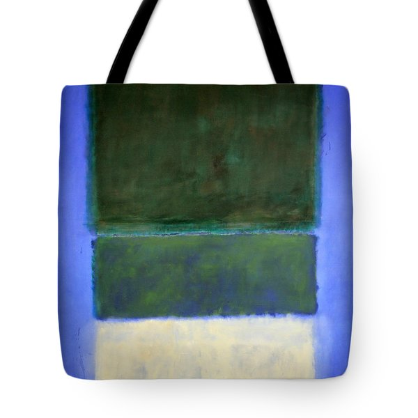 Rothko's No. 14 -- White And Greens In Blue Tote Bag by Cora Wandel
