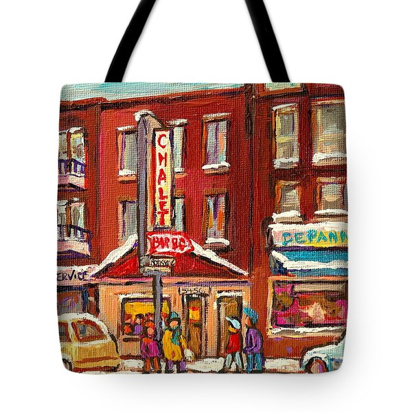 Rotisserie Le Chalet Bar B Q Sherbrooke West Montreal Winter City Scene Tote Bag by Carole Spandau
