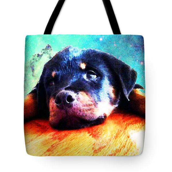 Rottie Puppy By Sharon Cummings Tote Bag by Sharon Cummings